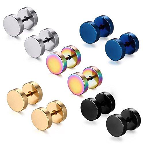 5 Paare 8 mm Tian Edelstahl Herren Ohrstecker Creolen Tunnel Ohrringe für Damen Fakeplug Fake Plug Ohrringe Edelstahl Herren Pierced Earrings (5 paar 8mm) (Männer Ohrstecker Für 8mm)