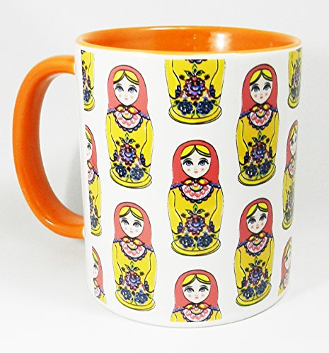 Russian Doll Design Mug with orange glazed handle and inner