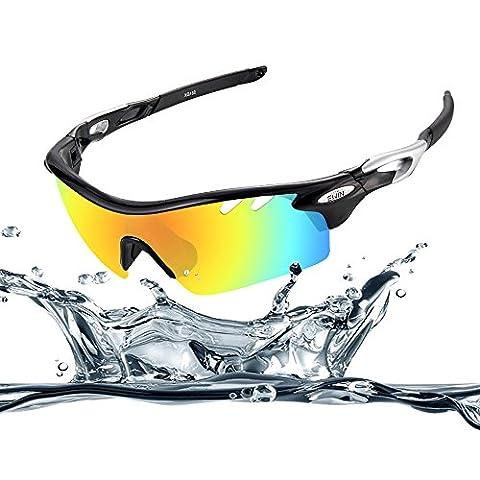 Ewin E11 Polarized Sports Sunglasses, 4 Interchangeable Lenses, TR90 Unbreakable Frame, Anti-fogging, Waterproof Lens Glasses(Black&Silver)