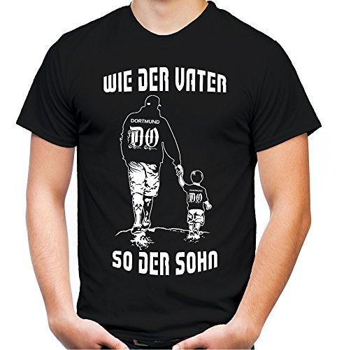 Uglyshirt89 wie der Vater So der Sohn Männer und Herren T-Shirt | Fussball Sport Papa Vatertag | Dortmund (Schwarz, L)