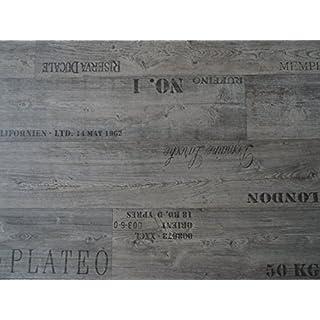 PVC mit Schriftzügen, grau - von Alpha-Tex 9.95€/m² (Länge: 350 cm, Breite: 400cm)