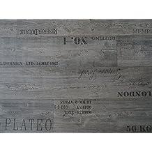 von Alpha-Tex 9.95/€//m/² PVC mit Schriftz/ügen grau L/änge: 200 cm, Breite: 400cm