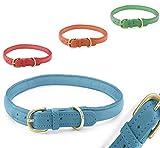 Pear - Tannery Fashion-Line Hundehalsband aus weichem Vollrindleder, handgerollt, XXXS 17-24cm, hellblau