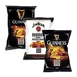 Burts Chips Probierpaket | Guinness Flavour + Rich Chilli + Jim Beam BBQ Chips | Kartoffelchips | 420 g