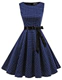 Gardenwed Damen 1950er Vintage Cocktailkleid Rockabilly Retro Schwingen Kleid Faltenrock Navy Small White Dot 2XL