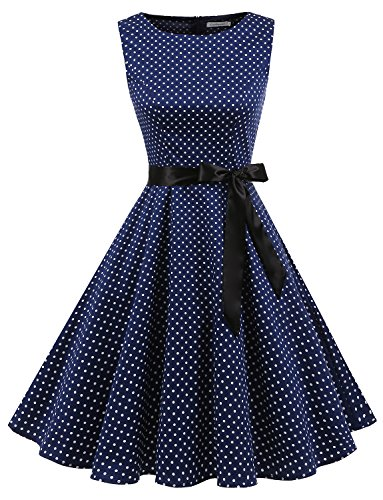 Gardenwed Damen Vintage 1950er Party Picnic Ärmellos Retro Cocktail Kleid Navy Small White Dot 3XL