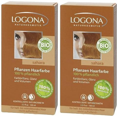 Logona Henna Haarfarbe Pflanzenhaarfarbe sahara im Doppelpack 2 x 100 g