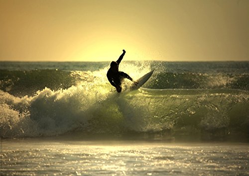 Postereck - 0187 - Surfer im Sonnenuntergang - Poster DIN - A3-29.7 cm x 42.0 cm