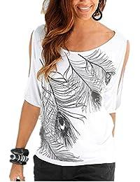 4831a689d469 Jusfitsu Damen Sommer Schulterfrei Kurzarm Feder Druck Muster Tops T-Shirt  Bluse