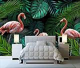 (250X200CM), alte Zeitung 3D tapete - Hand gezeichnet tropischen Regenwald Flamingo - Wallpaper Poster Wanddekoration von Bestwind