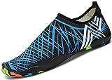 SAGUARO® Unisex Badeschuhe Aquaschuhe Wasserschuhe Schwimmschuhe Weiche Atmungsaktiv Leicht Rutschfest Schuhe für Damen Herren,Blau 45