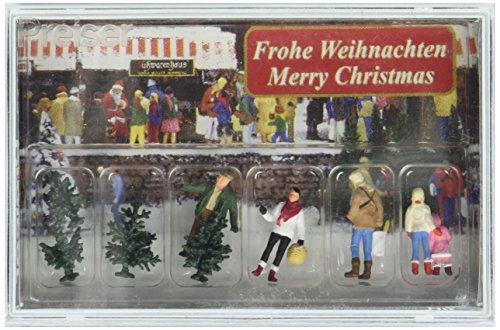 Preiser-PR10627-Figuren für die Modelleisenbahn-Dekoration Weihnachtsbäumen, Maßstab 1:87