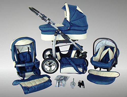 Chilly Kids Dino Kinderwagen Sommer-Set (Sonnenschirm, Autositz & Adapter, Regenschutz, Moskitonetz, Getränkehalter, Schwenkräder) 18 Marine & Creme