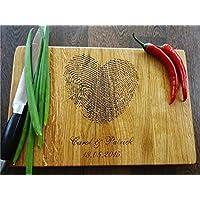 Personalisiertes Schneidebrett Handgefertigt mit Fingerabdruck. Frühstücksbrettchen Brettchen Holz Name Gravur personalisierbar Schneidebrett für Küche Personalisierte Geschenke für Hochzeiten Einzugs Geschenke