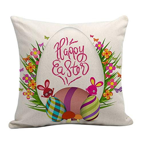 Pillow Case - Party Decorative Throw Pillow Case Happy Easter Colored Floral Ribbon Cartoon Rabbit Plaid Egg - Nautical Egyptian Oversize Rose Velvet Count Tropical White Viking Blue Long Dollars -