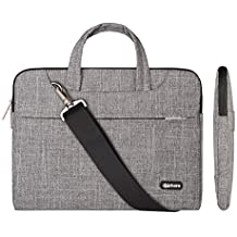 Qishare 13.3-14 Inch Laptop Bag,Multi-functional Fabric Waterproof Laptop Case,Adjustable shoulder strap&Suppressible Handle,Portable Sleeve Briefcase(grey lines
