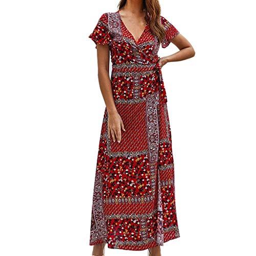 ShaDiao Damen Sommerkleider - Mode Sommer Gedruckt V-Ausschnitt Beach Party Lange Kleider Böhmische Kleider