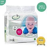 Bamaboo eco pannolini, biodegradabile, per neonati ai più piccoli, taglia 2 (3-8 kg), 188 pezzi, lussuoso legno di bambù, privo di cloro, ipoallergenico...