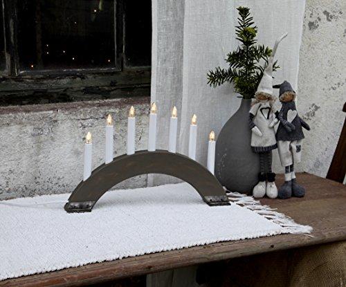 Best Season 24 7-31 Viking Bow - Candelabro (7 velas,madera y metal,27 x 42 cm aprox.), color gris