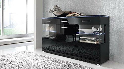 Sideboard in Hochglanz schwarz, mit 3 Türen und 1 Schubkasten, Maße: B/H/T ca.150/84/38 cm