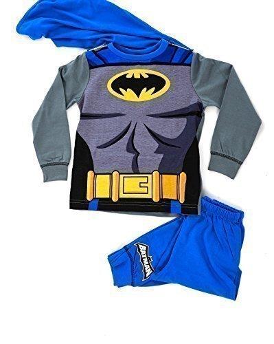 Jahr Kostüm 100 Batman (Kinder Jungen Kostüm Geschnürt Play Kostüme / Schlafanzug Pyjama Pj Pjs Set Buzz Lightyear Superman Spiderman Batman Party Größe EU 1-8 Jahre - Batman mit Cape, Größe)