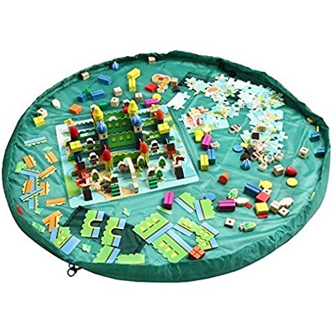 Juguete de almacenamiento, Homecube bebé Kids Play bolsa de la estera del piso de Lego Juguetes de almacenamiento Organizador de juguetes Kid Actividad Mat Bolsa de hombro-60 pulgadas de diámetro (verde)