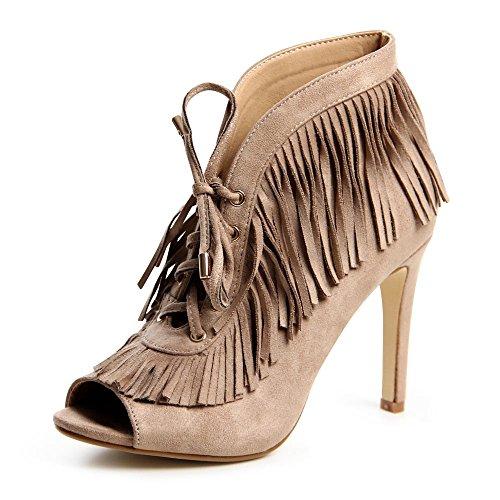 topschuhe24 694Pumps Lacets de sandales femme Kaki