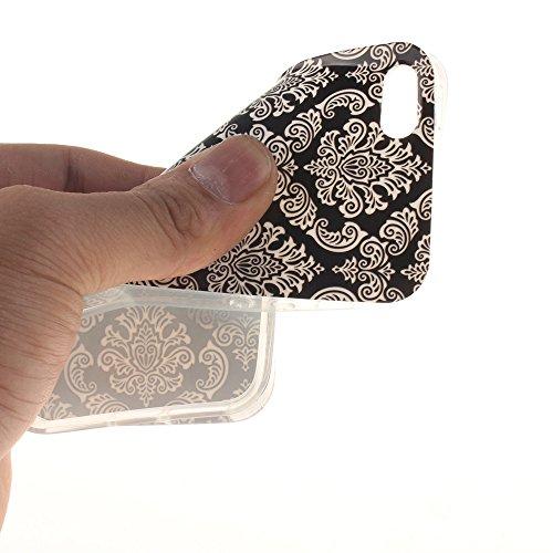 """Apple iphone 5/5s SE 4.0""""hülle,MCHSHOP Ultra Slim Skin Gel Schlank TPU Case Schutzhülle Silikon Silicone Schutzhülle Case Back Cover für Apple iphone 5/5s SE 4.0"""" - 1 Kostenlose Stylus Pen (Lovely Pan White Totem of Flowers in Black"""