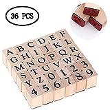 BIEE Set di timbri in Legno - Francobolli di Numero di Lettera di Alfabeto (36 Pezzi)