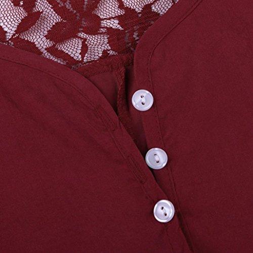 Cinnamou Femme Manches Longues Un Bouton Lace Patchwork Chemise Dessus Rouge