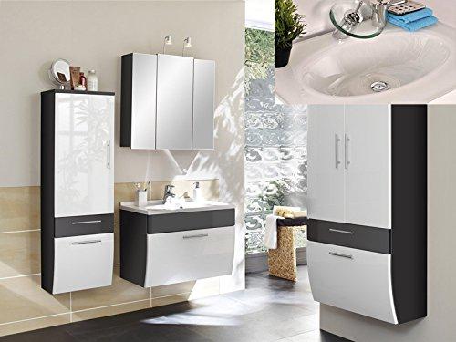 #SAM® Badmöbel-Set Santana HS 4tlg, 70 cm, in weiß-anthrazit, Milchglasbecken in weiß, Badezimmer mit Softclose-Funktion, 1 x Spiegelschrank, 1 x Waschplatz, 1 x Hochschrank, 1 x breiter Hochschrank#