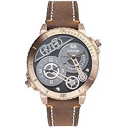 s.Oliver Herren-Armbanduhr XL Analog Quarz Leder SO-2949-LQ