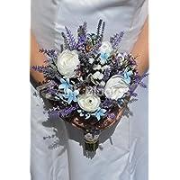 Rustico artificiale Ranunculus e Stephanotis bouquet da sposa con fiori di campo