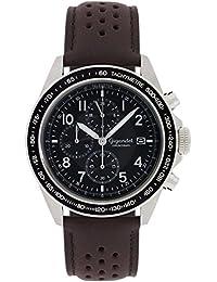 Gigandet Quarz Herren-Armbanduhr Racetrack Chronograph Uhr Datum Analog Lederarmband Braun Schwarz G24-010