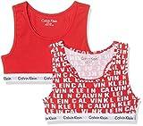 Calvin Klein Mädchen BH 2PK Bralette, Rot (Princess Red LG/Princess Red 600), 158 (Herstellergröße: 12-14)