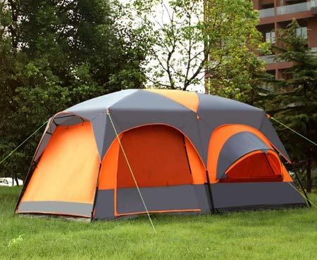 CHYYZP Zelt Luxus Ultra Hohe Qualität Eine Halle Zwei Schlafzimmer 6 8 10 12 Outdoor Camping Zelt 215 cm Höhe Wasserdicht Party Familie ZeltOrange Grau