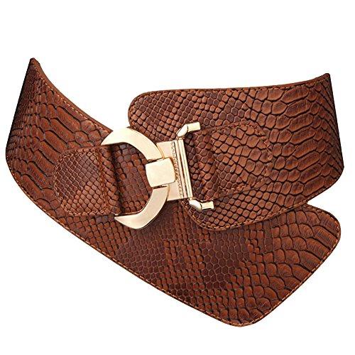 JasGood moda mujer serpiente patrón Wide elástica elástico ajustable Cintura Cinch cinturón cintura Marrón marrón X-Large