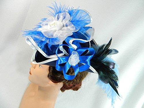 Mini Dreispitz blau weiß Marie Antoinette Hut Barock Rokoko Gothic STeampunk Karneval Mardi (Gras Hut Mardi)