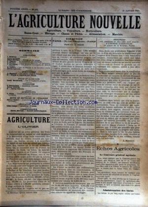 AGRICULTURE NOUVELLE (L') [No 562] du 25/01/1902 - AGRICULTURE PAR MAURION - BERTHOT - VIMEUX - BERTIER - BERTHAULT ET LATIERE - HORTICULTURE PAR MAGNIEN - VITICULTURE PAR BATTANCHON - LA DIPHTERIE AVIAIRE PAR BRECHEMIN - LA BIERE PAR CANU - LE BATAIL DANOIS PAR VACHER -