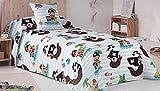 Mercato House - Colcha Bouti Infantil Piratas/Colcha Cama 90/Colcha Microfibra + Set 3 Bayetas de Regalo, 180x260cm