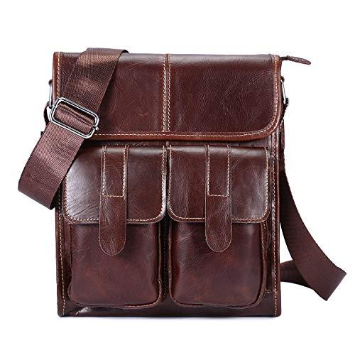 Bagtech borsello uomo in vera pelle borsa a tracolla uomini vintage borse a spalla grande capacità (caffè)
