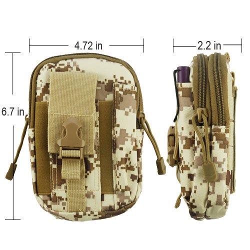 Brieftasche + Ständer Passend für Apple Samsung LG Universal Desert Camouflage Sport Taille Pack Pocket Gürtel Secure Kreditkarte Cash Telefon trainingskomfort. Zwei Separate Fächer Kompakt & Leicht -