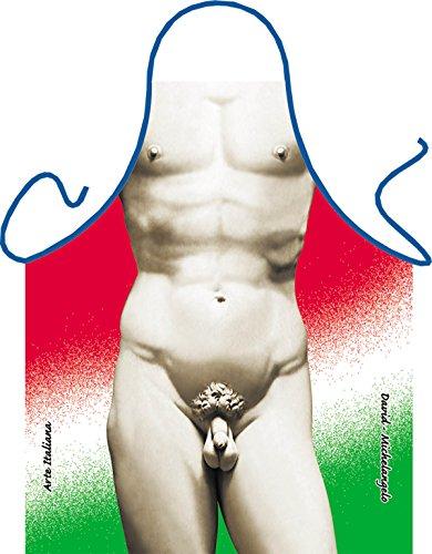 Koch Bistro Grill Karneval Schürze mit GRATIS Flaschendeko Weihnachten: David Michelangeo (Bistro-statue)