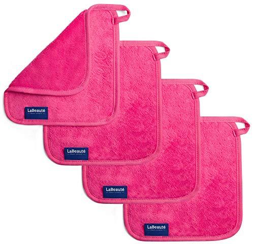 LaBeauté Make-Up Entferner-Tücher (4 Stück), Gesichtsreinigung und Abschmink-Tücher, waschbar und wiederverwendbar (21x21 cm, Pink)