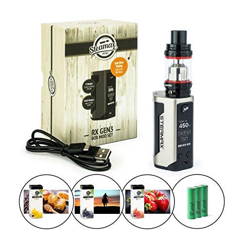Steamax/Wismec RX Gen3 300 Watt + TFV12 Tank 6 ml + 3 x 3120 mAh Akku + 3 x 10 ml SC-Liquid (nikotinfrei) E-Zigarette E-Shisha E-Zigaretten-Set (edelstahl)