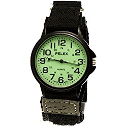 NY London Men's Wrist Watch Nylon Fabric Night Glow Velcro Watch With Luminescent Dial + Watch Box
