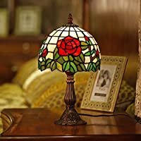 HOUSEHOLD Tiffany Desk Lamp Stained Glass Table Light Blue Purple Baroque Style For Living Room Bedroom Dresser Bookcase Coffee Table Beside Reading Table Desk Lamps Light