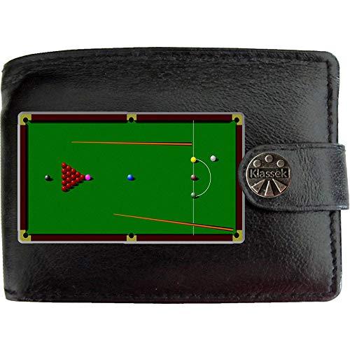 Snooker Table Snookertisch Que baise Tischsport Bild auf KLASSEK Marken Herren Geldbörse Portemonnaie Echtes Leder RFID Schutz mit Münzfach Zubehör Geschenk mit Metall Box