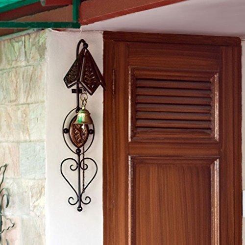 Nisar Handicrafts Wooden Iron Doorbell Wall Hanging with Brass Bell Home Decor