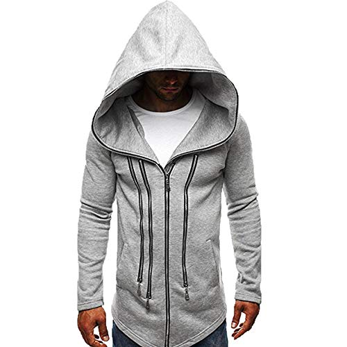KPILP Mens Herbst Winter Mode Dunkler Umhang Zipper Hoodie Langarm Assassin's Creed Zur Seite Fahren Dick Warm Sweatshirt-Mantel(Grau, XL) (Creed Assassin Frauen Hoodie)